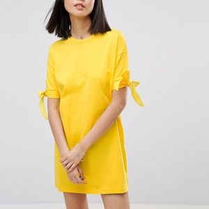 NWT ASOS Yellow Tee Shirt Dress with bows 6